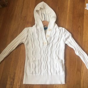 Girls chunky knit hooded white sweater